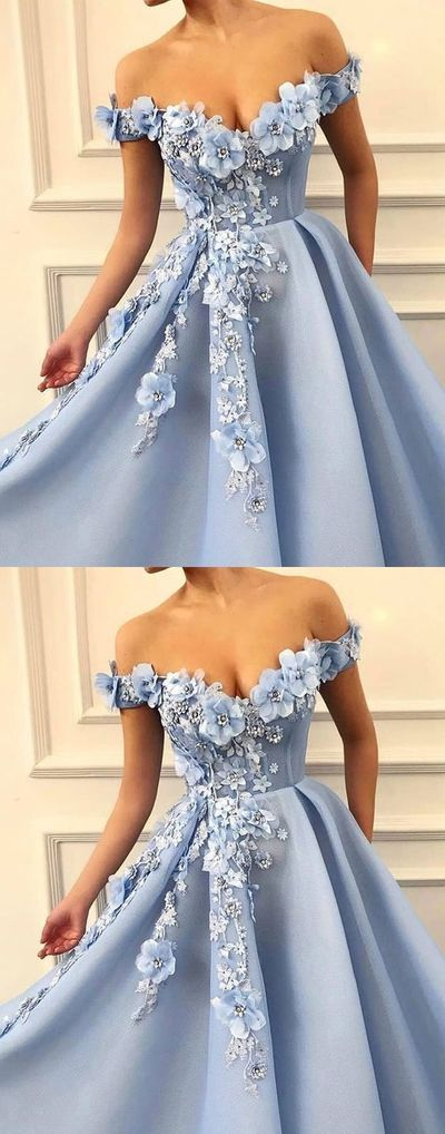 Amazing Blue off shoulder tulle lace long prom dress, blue lace evening dress J2165
