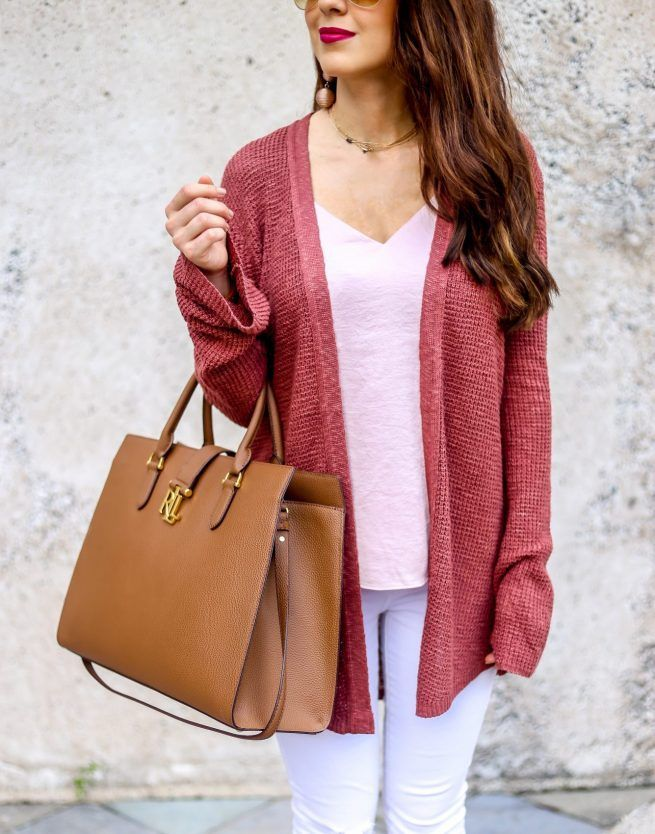 Neutral Cardigan Look for Fall. Pink for Fall. Rusty Pink Cardigan for Fall. Fall Cardigans. Casual Outfits. Fall Fashion. Fall Tops. Fall Style. Warm Tones for Fall.