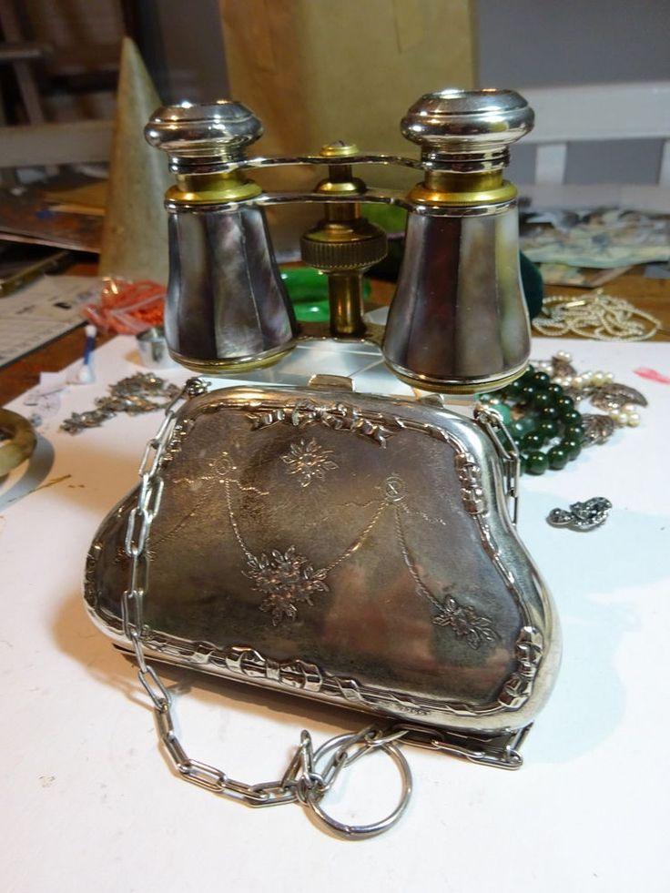 Antique Rathenow Germ. Dark MOP Opera Glasses & Silver Plate Metal Finger Purse