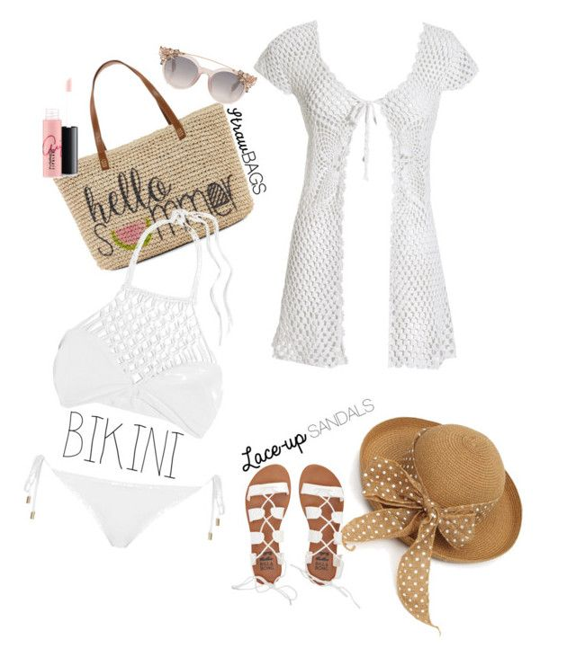 """Big Cover-Up Summer"" by ordinary-fashion on Polyvore featuring moda, Straw Studios, Mikoh, Topshop, Beauty & The Beach, MAC Cosmetics ve Billabong"