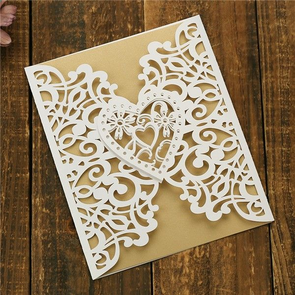 Romantic White Heart Shaped Laser Cut Wedding Invitations Lc035 In