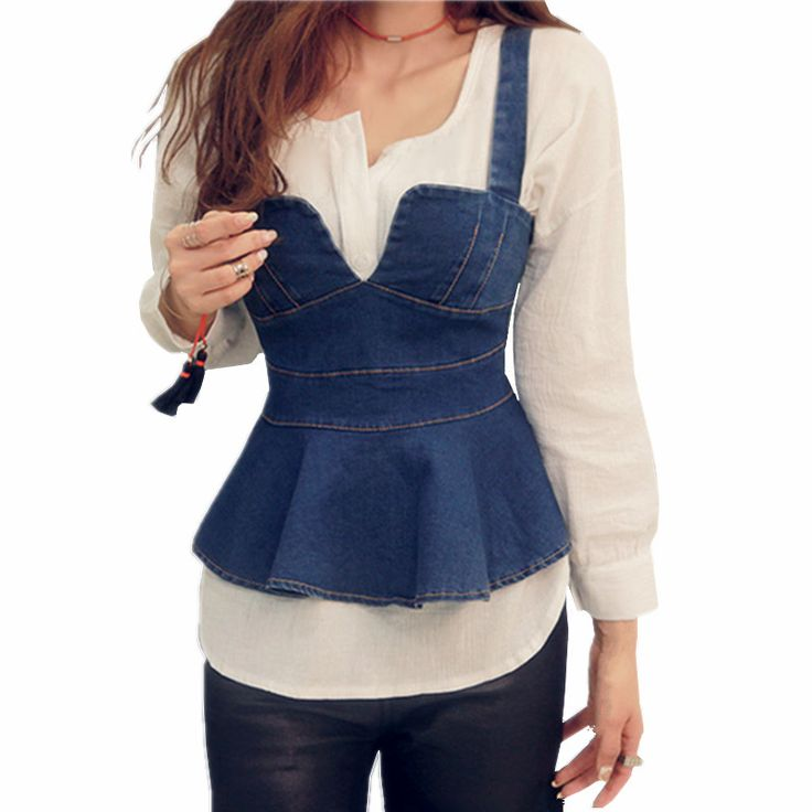 2016 Spring Autumn New Fashion British Style Two Piece Patchwork Denim Shirt Women Peplum Top-in Blouses & Shirts from Women's Clothing & Accessories on Aliexpress.com | Alibaba Group