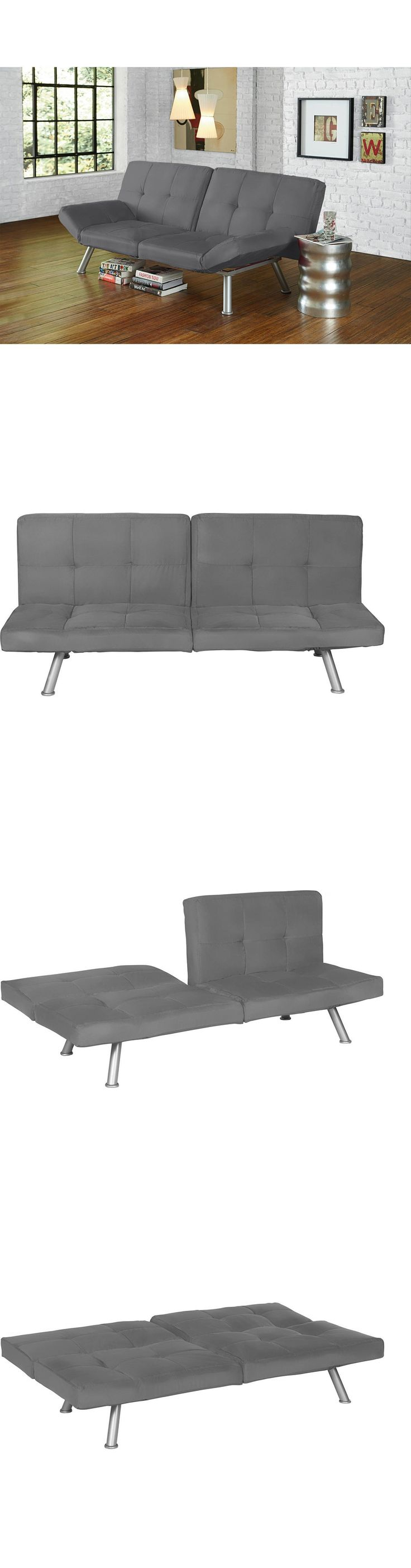 Futons Frames and Covers 131579: Gray Futon Sofa Bed Loveseat Couch Split Back Micro Suede Lounger Decor Sleeper -> BUY IT NOW ONLY: $199.99 on eBay!