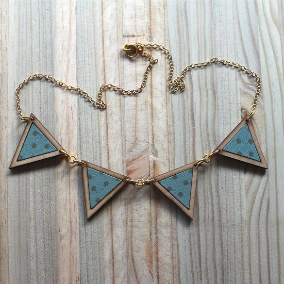 Kosbaar | Bunting Necklace  Timber & fabric inlay | Olive green with brown polka dots  | Handmade in Cape Town, South Africa