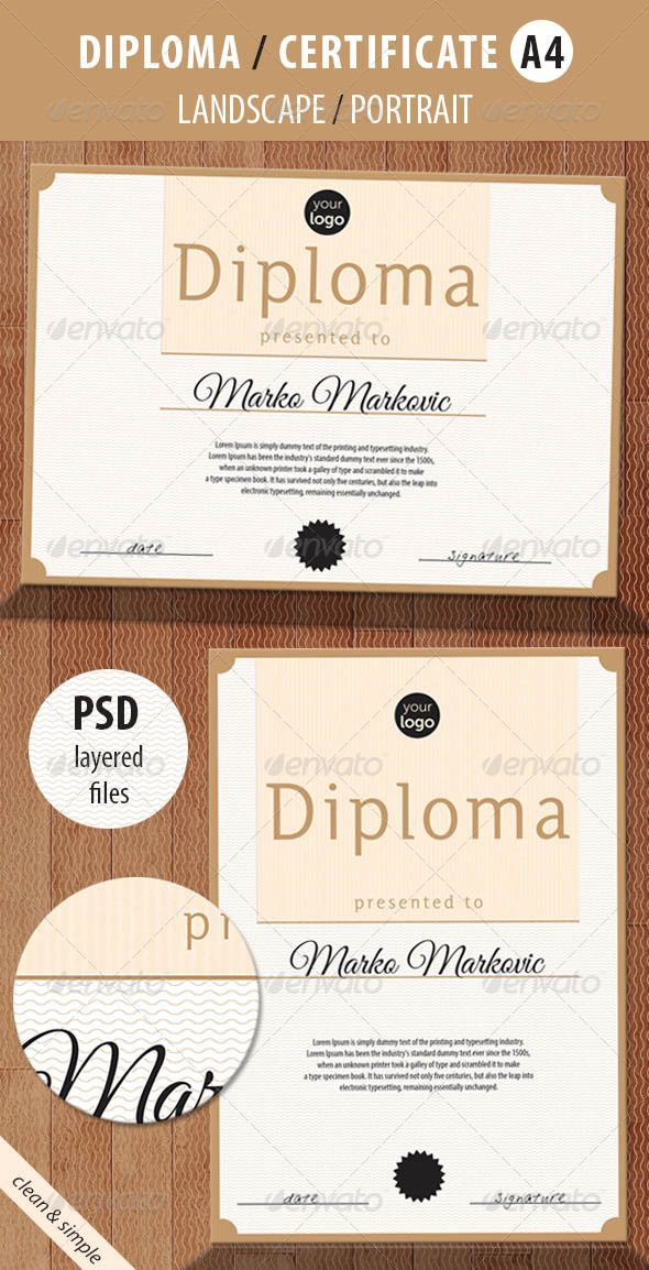 Print Template for Multipurpose Diploma / Certificate - Stationery Print Templates