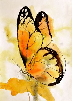 Yellow butterfly watercolor painting original by AlisaAdamsoneArt