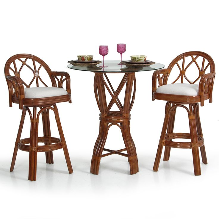 Jamaica Rattan 3 Piece Bar OR Counter Height Pub Set - Leaders Casual Furniture