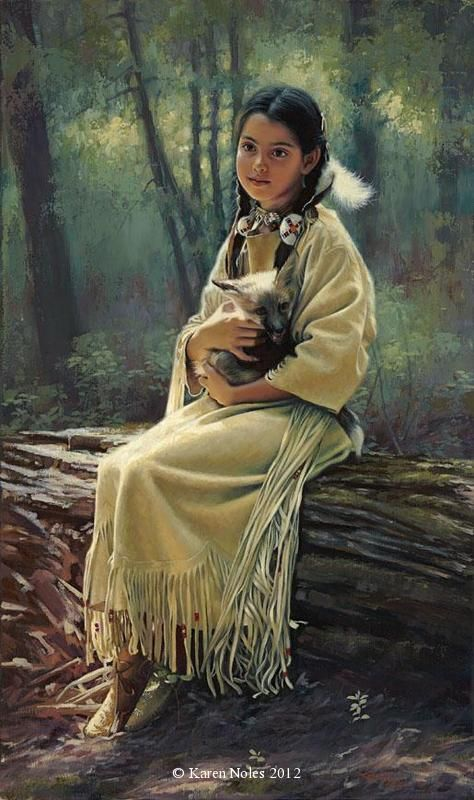 """Safe Haven"" 23"" x 14"" Original Oil -Native American Paintings by Karen Noles"