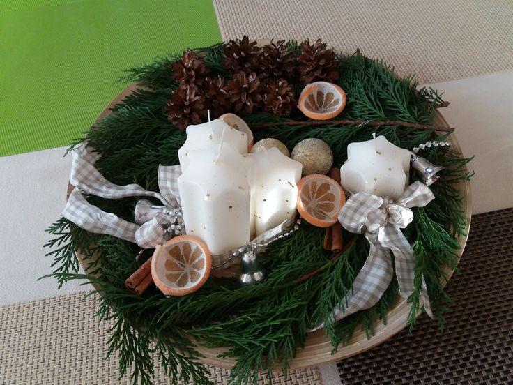 Advent wreath #DIY #advent #candles #orange #cinnamon #pinecone