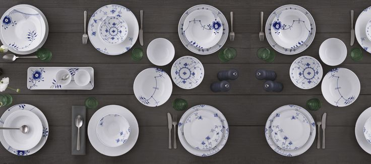 A variety of Royal Copenhagen porcelain patterns