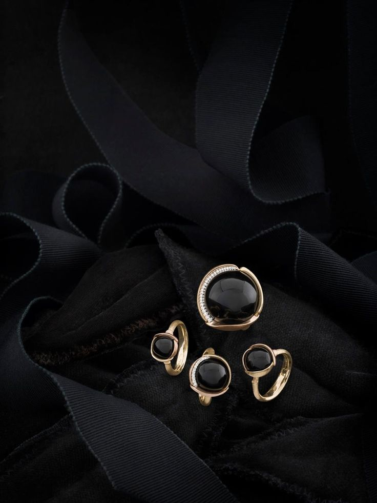 Ole Lynggaard Copenhagen Lotus Rings in Gold and Black Onyx available from http://www.masterjewellers.com.au/