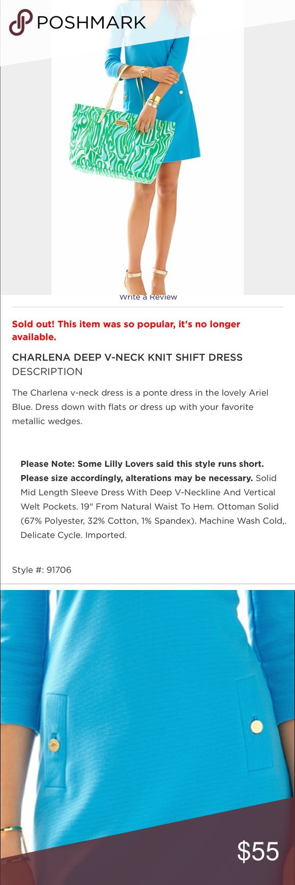 Lily Pulitzer Charlena Knit Shift Dress CHARLENA DEEP V-NECK KNIT SHIFT DRESS IN ARIEL BLUE. Worn once so tags removed. Please see picture for measurements and materials. I'm 5'4 and 120 lbs. Lilly Pulitzer Dresses Midi