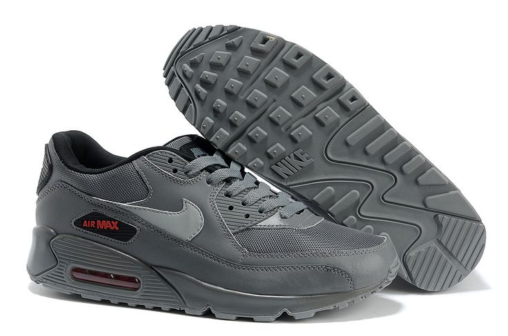 Inexpensive Nike Air Max 90 Women Black/Grey Shoes 7858