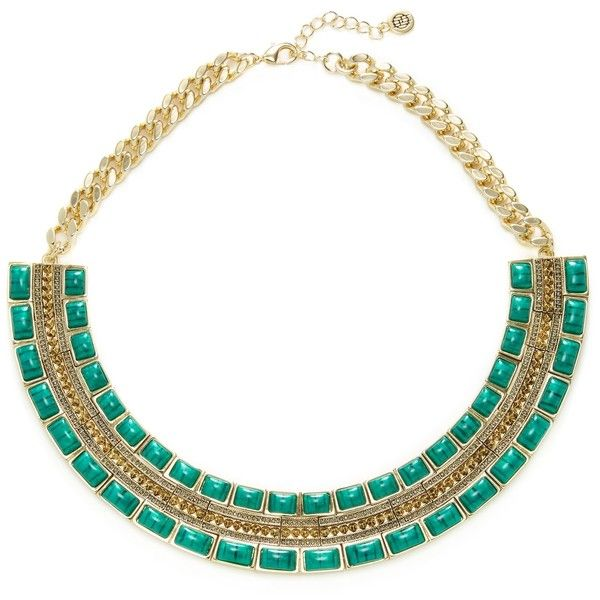 House of Harlow 1960 Women's Malachite Dynasty Bib Necklace - Gold ($79) ❤ liked on Polyvore featuring jewelry, necklaces, gold, long gold necklace, gold pave necklace, long bib necklace, gold jewelry and lobster clasp necklace