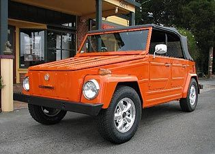 My First Car and first love...1973 VW Thing...and this is the color I always wanted to paint it. Someday, I will live at the beach again and drive this again.