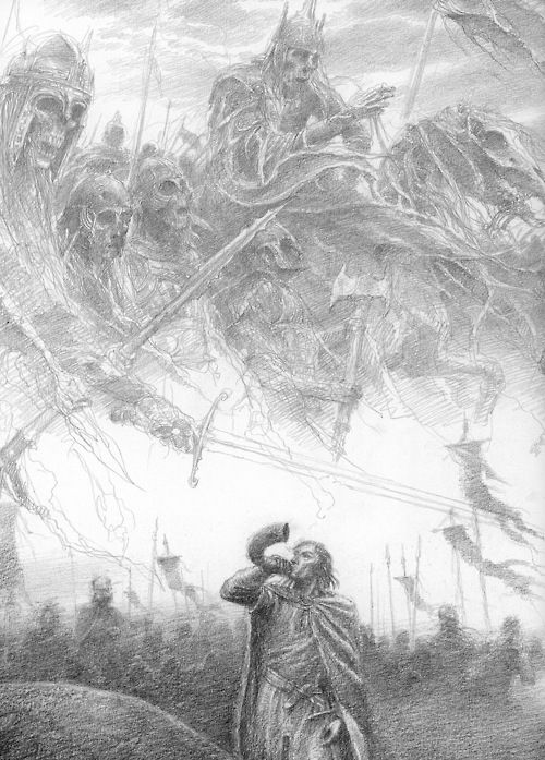 The Armies Gather; art by Alan Lee……THIS SO REMINDS ME OF A BOOK MY GRANDMOTHER HAD……IT WAS NOT A BOOK WE COULD CASUALLY READ….SHE WOULD TURN THE PAGES AND SHOW US ONLY THE PICTURES SHE THOUGHT WOULDN'T SCARE US………ccp: