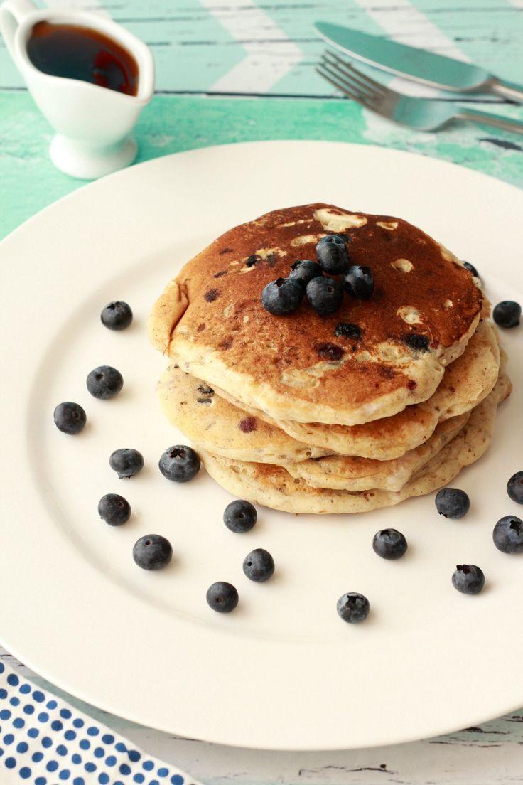 Vegan Blueberry Pancakes. Perfect for a vegan breakfast with fresh blueberries, vegan whipped cream and maple syrup! #vegan #lovingitvegan #breakfast #pancakes