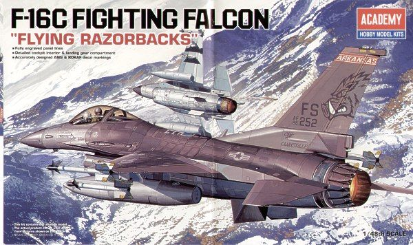 "Lockheed Martin F-16C Fighting Falcon ""Flying Razorbacks"". Academy, 1/48, injection, No.12204. Price: 19,80 GBP."