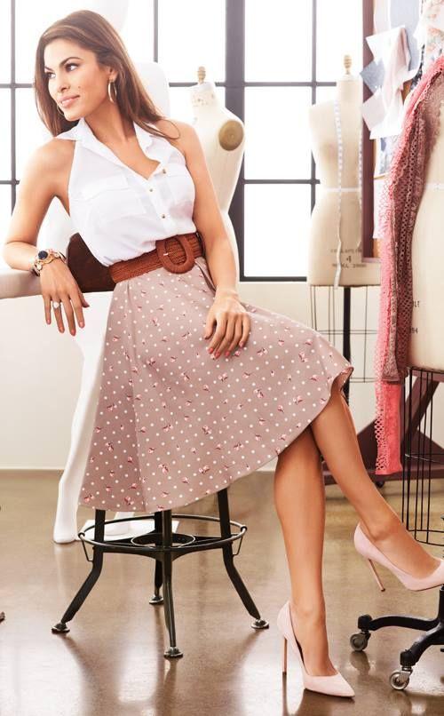 Eva Mendes NY & Co clothing line collaboration. Nice skirt. Beauty on High Heels #Fashion