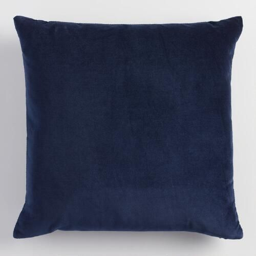 Crafted of luxurious cotton velvet, our regal navy blue throw pillow lends a classic note to any room. Combine this exclusive accent with our other velvet pillows in an array of chic colors to refresh your decor instantly.