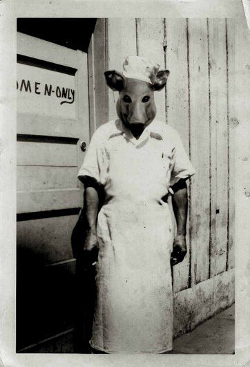 Why are vintage pictures with people wearing masks so much more scary?