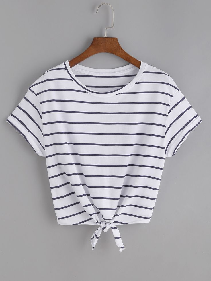 Shop Striped Knot Front Tee online. SheIn offers Striped Knot Front Tee & more to fit your fashionable needs.