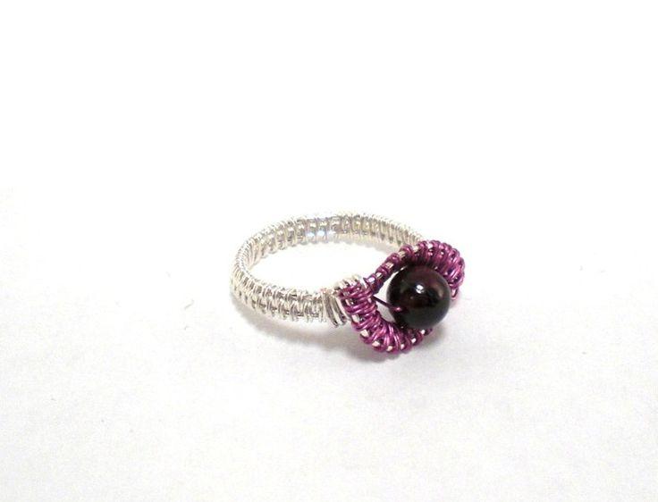 Ring ~ Silber/Pink mit Granat