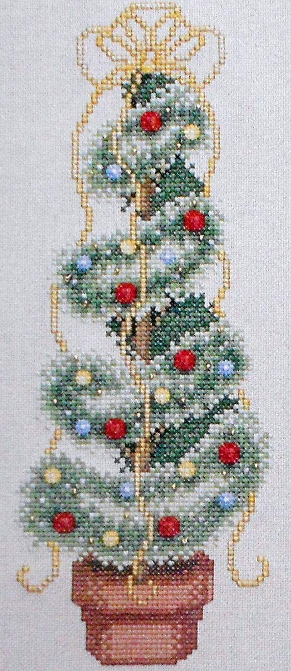Angela Pullen WINTER TOPIARY TREE Plant Picture - Counted Cross Stitch Pattern Chart - fam via Etsy