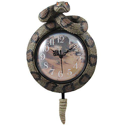 Southwestern Rattlesnake Wall Clock with Snake Rattler Pendulum for Desert Southwest Home Decor and Gifts for Arizona Diamondbacks Fans Home-n-Gifts http://www.amazon.com/dp/B00M687N04/ref=cm_sw_r_pi_dp_qM.Svb0D3YP7X