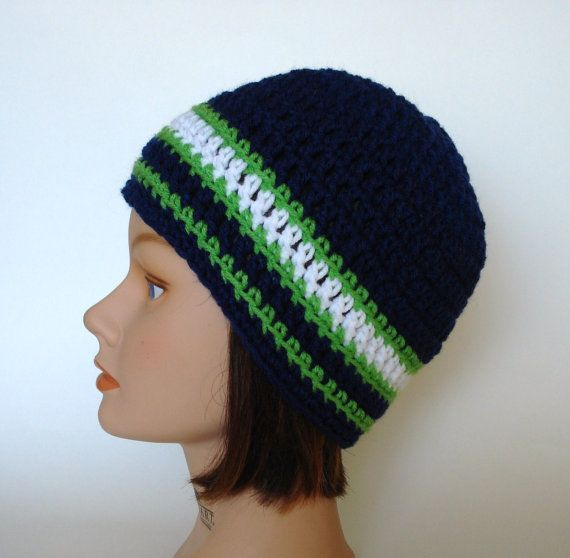 Seattle Seahawks Team Colors Striped Skater Beanie by Goodyboppers, $12.00