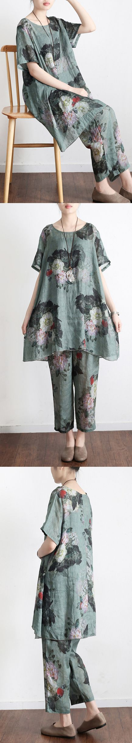 new 2017 green prints vintage linen plus size t shirt tops and pants
