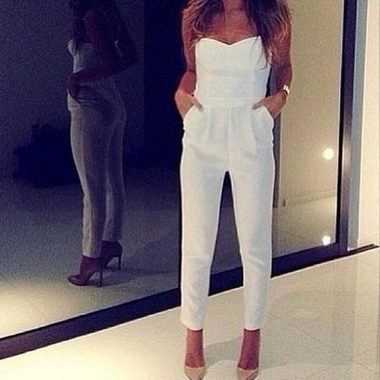 White Long Pants Romper
