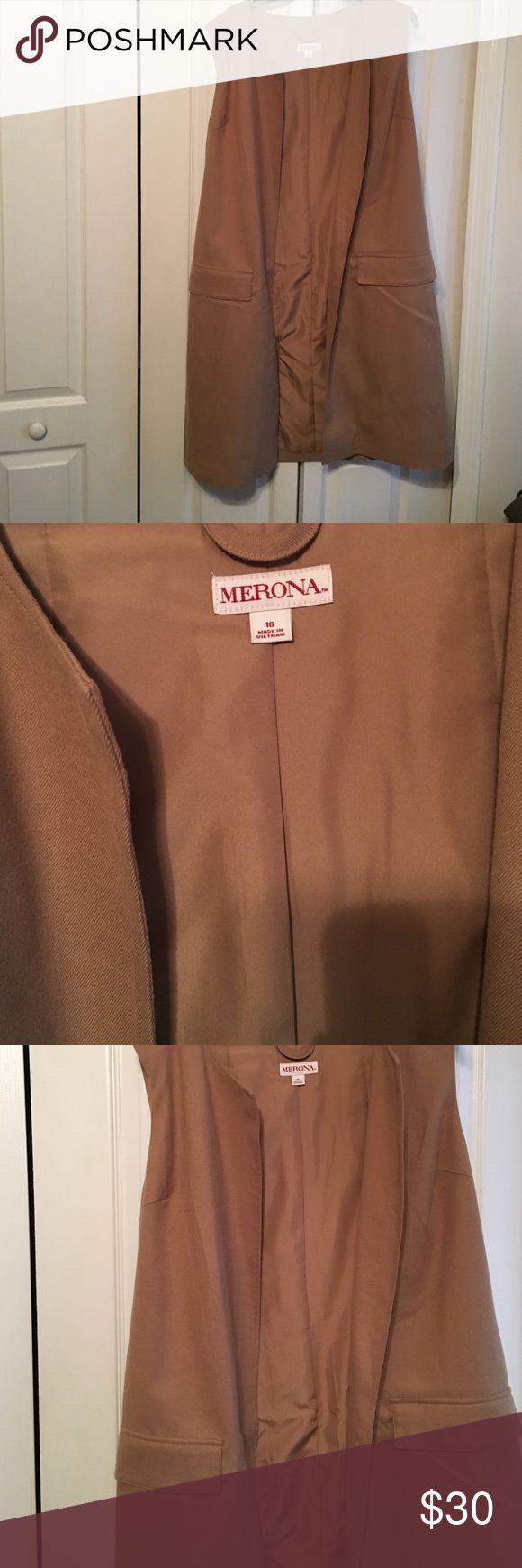 Ladies Long Camel Vest Size 16 NWT Merona Vest Merona Jackets & Coats Vests