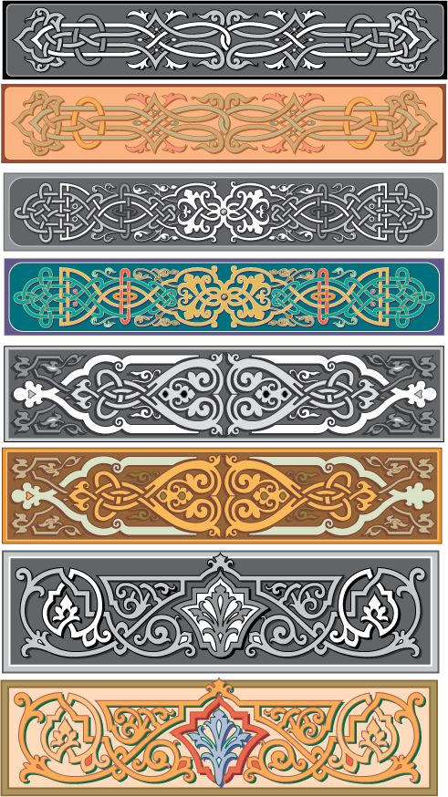 Old Russian ornamental patterns. #Russian #patterns # I couldn't help thinking these would make great leather bracelets with sewn on snaps. Or painted on a hinged wooden bracelet with a tiny latch; or just as cloth embroidered bracelets with sewn on snaps.