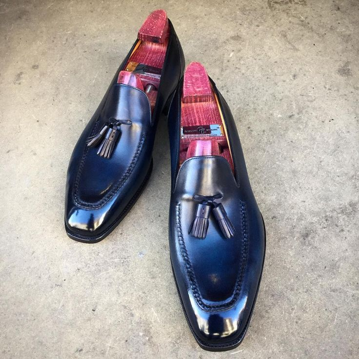 """Happy Sunday. The """"Corniche"""" with a deep blue patina. Made to Order on the KN 14 loafer last.  #gazianogirling #gazianoandgirling #shoeporn #madetoorder #patina #GGCorniche"""