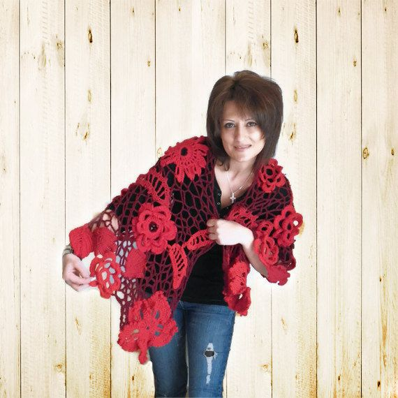 Check out this item in my Etsy shop https://www.etsy.com/listing/90755471/hand-crochet-red-wrapped-shawl-large-red