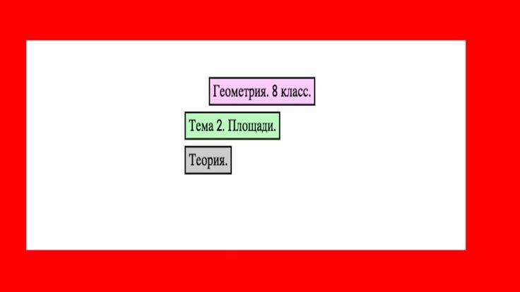 Геометрия. 8 класс. Тема 2: Площади. Теория.