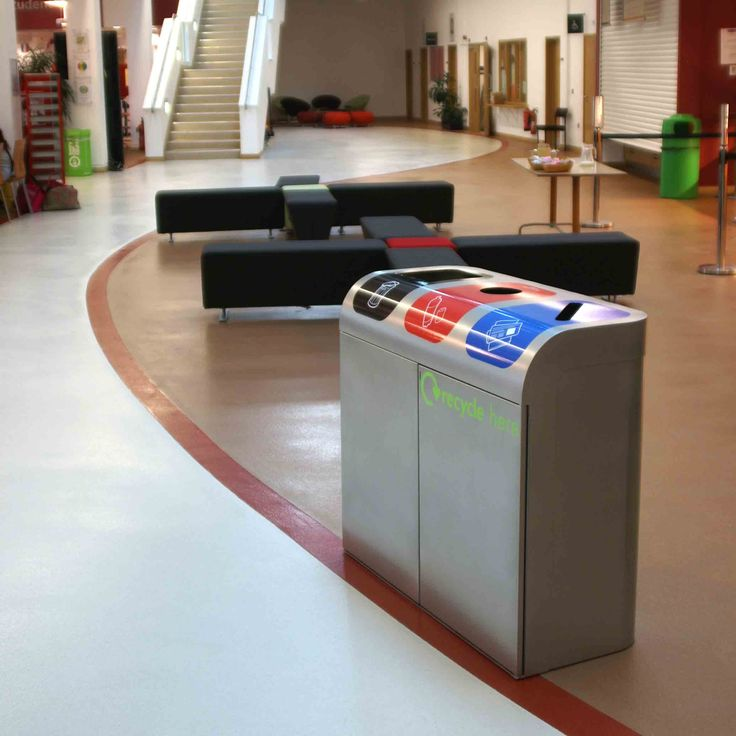 The Lute Stream Recycling Unit, a three compartment, stylish recycling unit with a curved top section helping to make the waste streams visible from a distance.