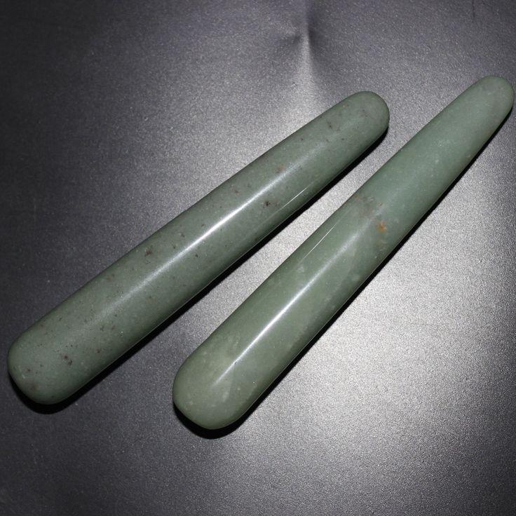 Natural green Aventurine facial massage wand Relaxing wand acupoint point stick reiki healing stone