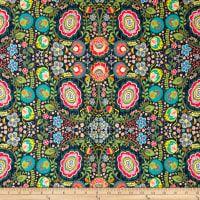 Art Gallery Indie Folk Jersey Knit Khokhloma Gloom Dark Blue