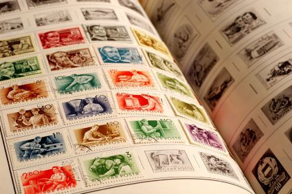 "STAMP COLLECTING.....A STAMP ALBUM: Vintage ""Stamp Album Book"" ....my mother had several of these stamp collection albums around ,as she was an avid stamp collector, when I was a child. I used to be so fascinated by all the pretty stamps. Great memory."