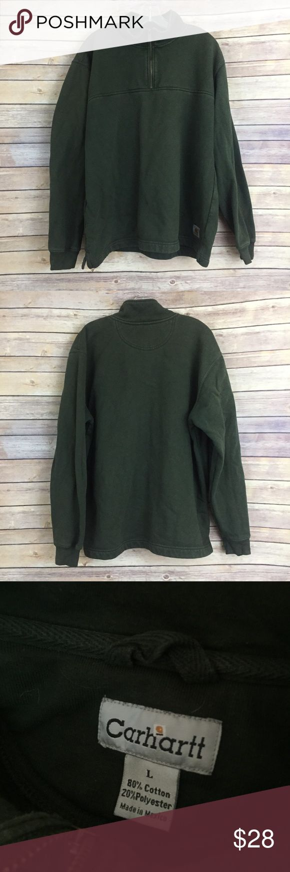 Men's Carhartt hunter grn pullover size L This men's Carhartt pullover sweatshirt is a size Large and is a nice hunter green color m.  There is very slight overall wear and fade but no damage. Carhartt Shirts Sweatshirts & Hoodies