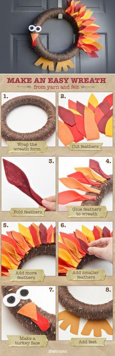 Easy Thanksgiving Turkey Wreath ~ an easy wreath made from yarn and felt
