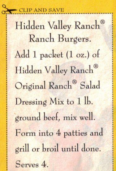 Hidden Valley Ranch Burgers Recipe   RecipeCurio.com