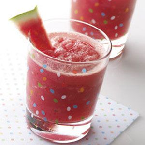 Watermelon Cooler with ginger ale, mint, and frozen watermelon. How fun for Fourth of July.