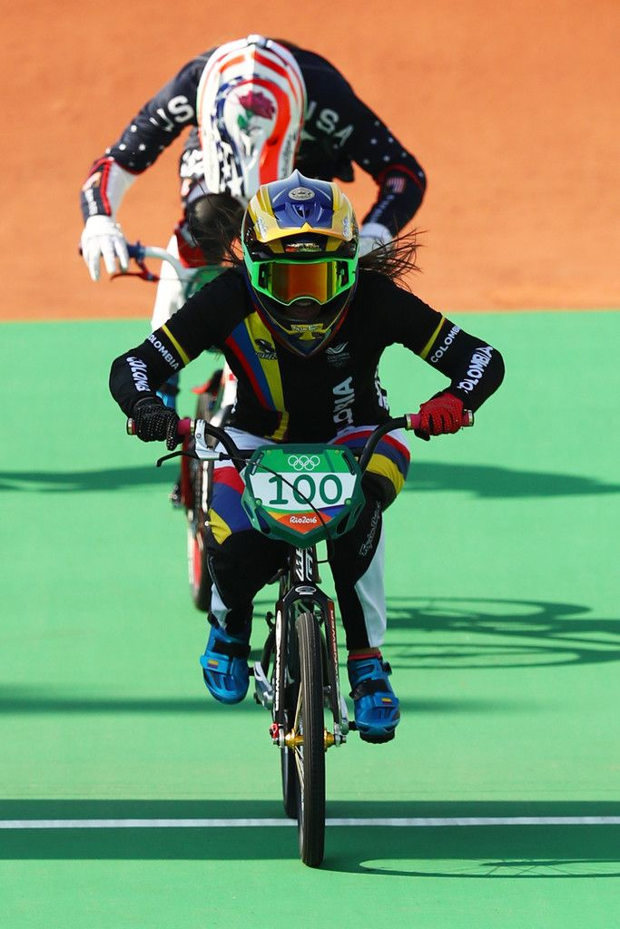 Mariana Pajon of Colombia crosses the finish line to win the gold during the Women's Final on day 14 of the Rio 2016 Olympic Games at the Olympic BMX Centre on August 19, 2016 in Rio de Janeiro, Brazil.