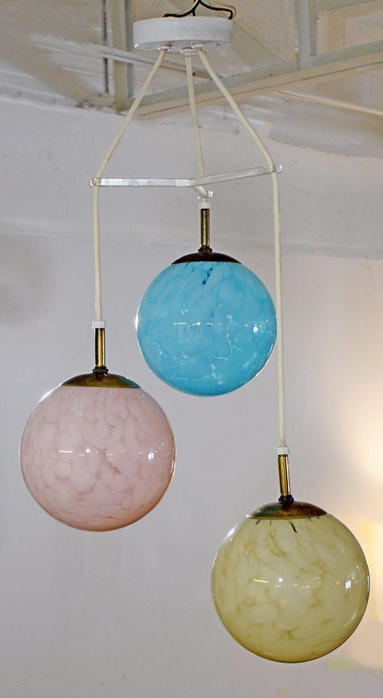 Mid Century Modern Colored 3 Globe Italian Glass Hanging Light Fixture Germany