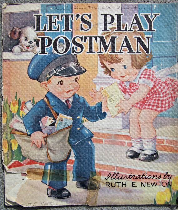 MAIL ♥Vintage Whitman Linen Book  Let's Play Postman - 1936 - Ill. by Ruth E. Newton