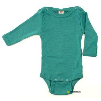 Langærmet body m knapper, uld/silke, smaragd grøn. Set hos Naturebaby.dk