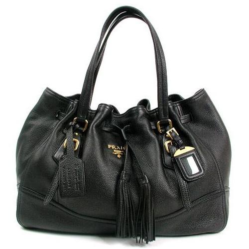 Prada BR3571 Vitello Daino Leather Shoppers Handbag  Black